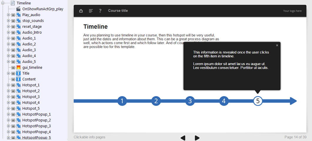 FasterCourse Oceanside Template Timeline page - E-learning