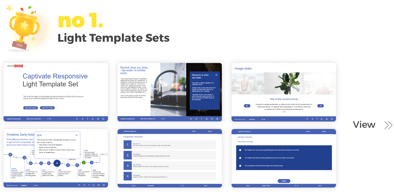 Top Elearning Templates FasterCourse_Captivate_Light