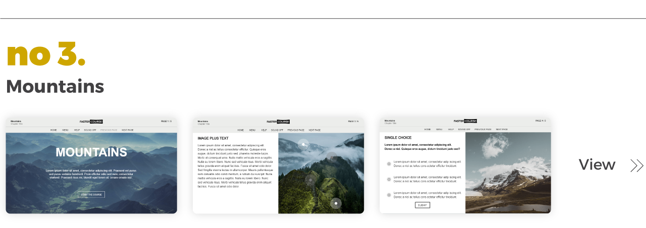Top Elearning Templates FasterCourse_Captivate_Mountains