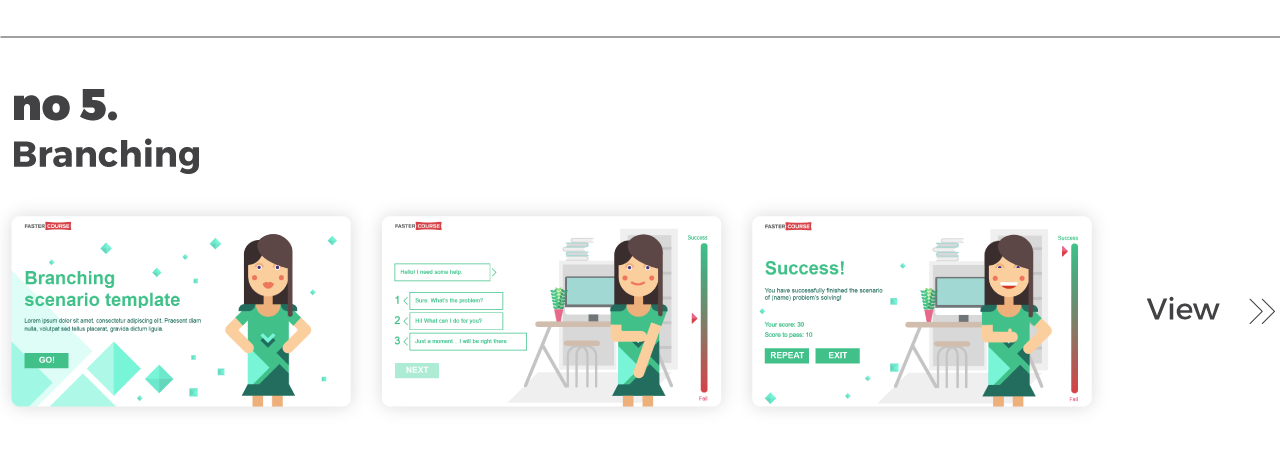 Top Elearning Templates FasterCourse_Captivate_Branching